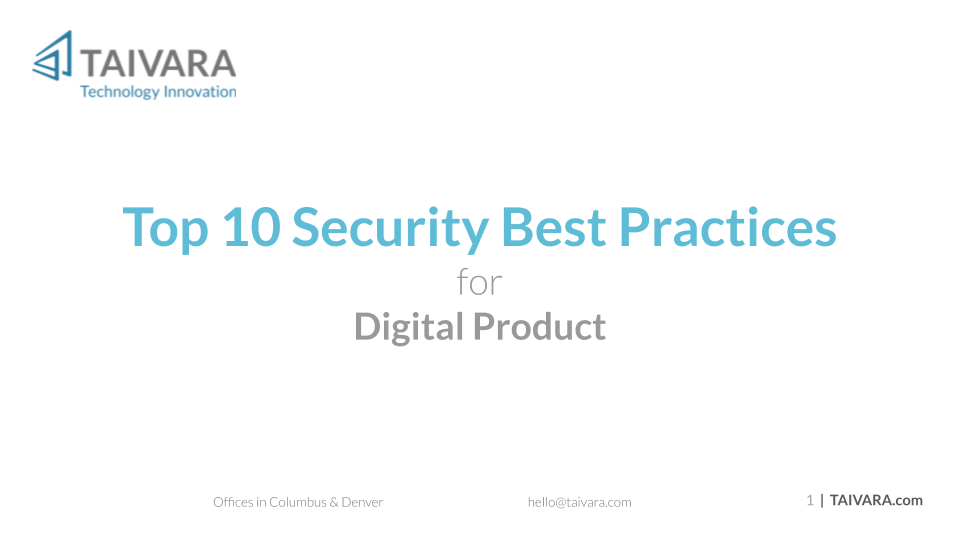 Top 10 Security Best Practices for Digital Products